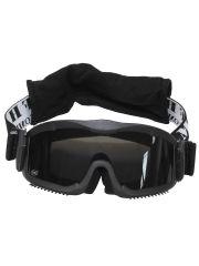 Deluxe Schutzbrille Airsoft schwarz mit 2 Ersatzgläser