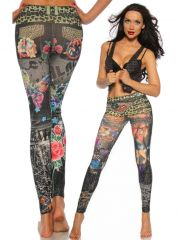 Leggings grau im Tattoo Style