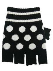 Fingerlose Handschuhe weiße Punkte