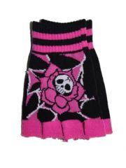 Fingerlose Handschuhe Totenkopf pink