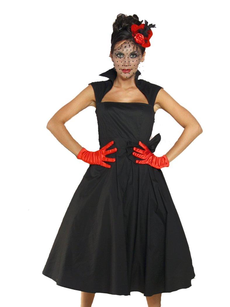 Petticoat Rockabilly Kleid schwarz mit Kragen