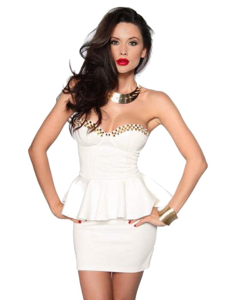 Rockabilly Bandeau Mini Kleid weiß mit Rockteil