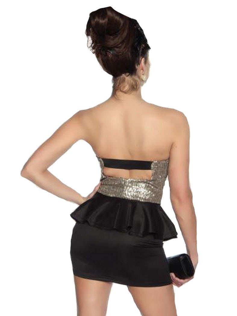 Rockabilly Bandeau Mini Kleid schwarz gold