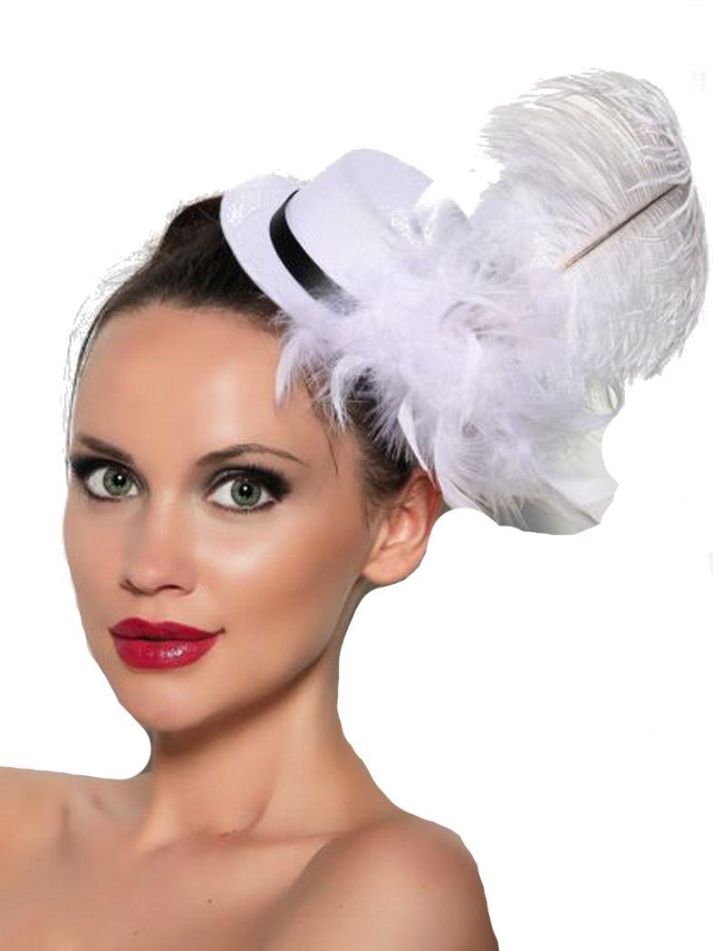 Haarschmuck Mini Hut weiß mit Federn