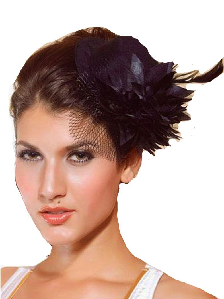 Haarschmuck Mini Hut schwarz mit Blume