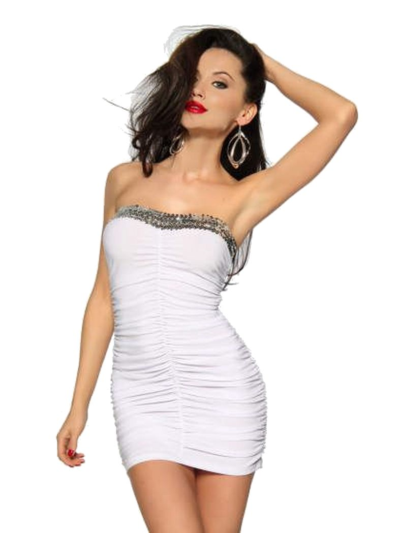 Bandeau Mini Kleid weiß mit Pailettenbesatz