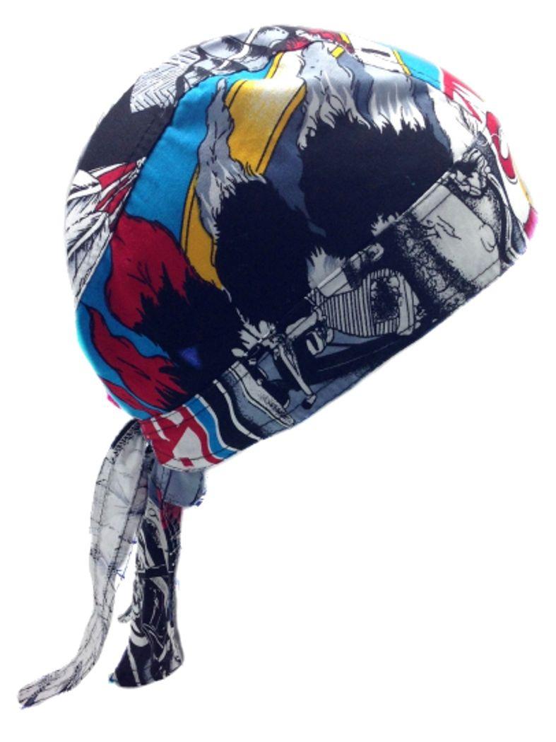 bandana cap indianer mit motorrad auch zandana kopftuch. Black Bedroom Furniture Sets. Home Design Ideas