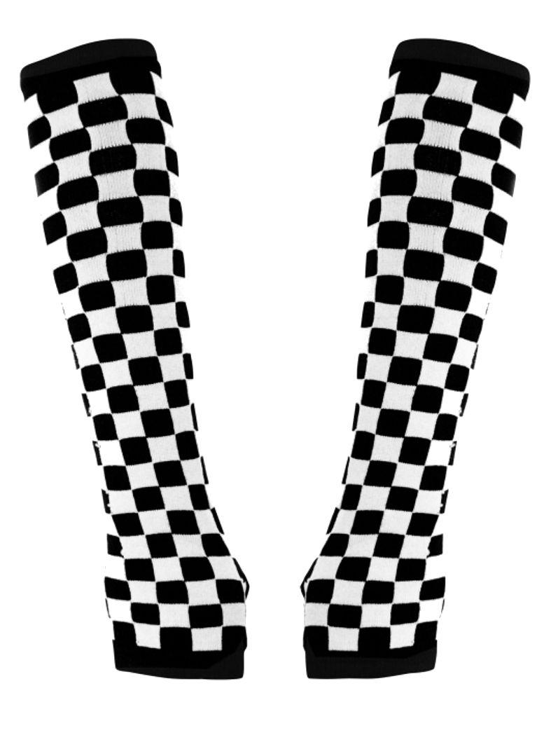 Armstulpen schwarz weiß Schachbrett