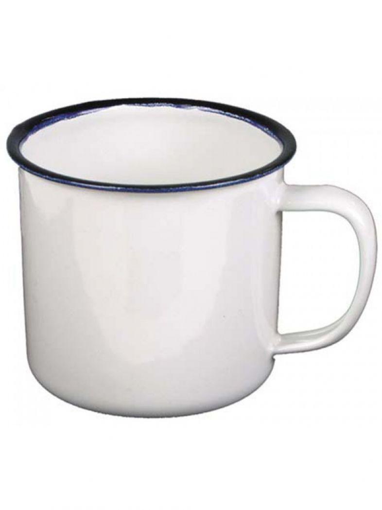 Emaille Tasse weiß blau 300ml