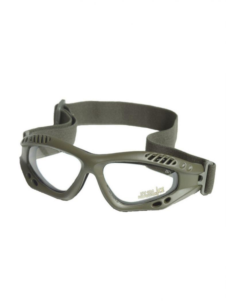 Motorrad Schutzbrille oliv klar
