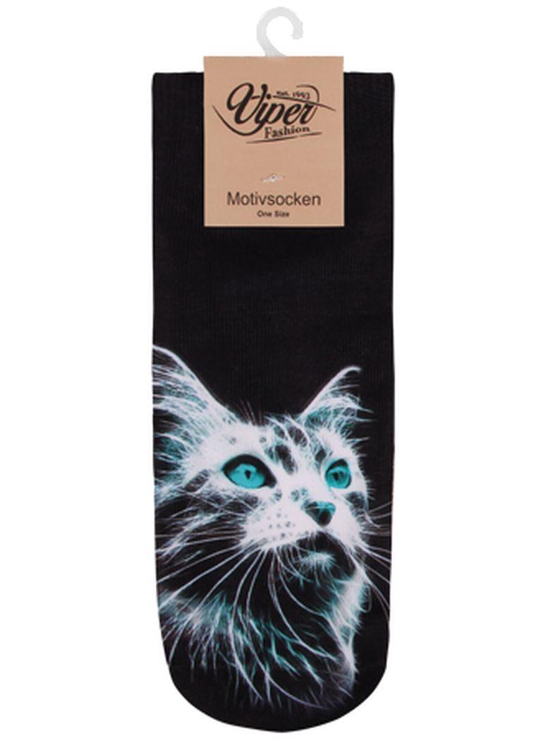 Sneaker Socken bedruckt Katze schwarz weiß