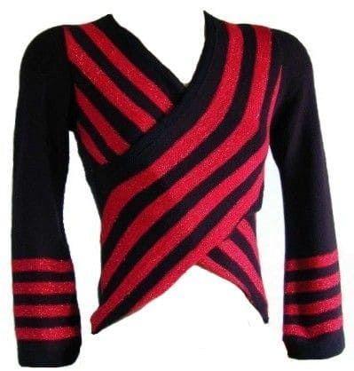 Damenpullover rot schwarz