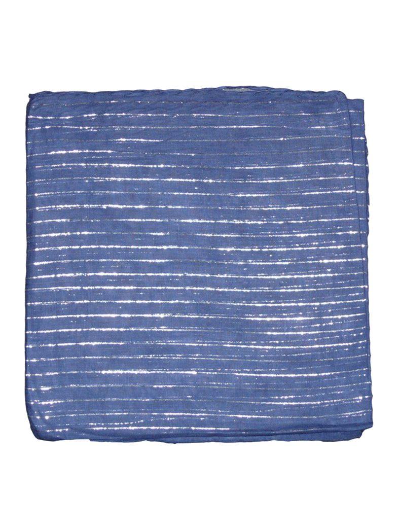 Lurex Tuch blau und silber