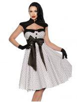 Petticoat Rockabilly Kleid weiß mit Punkten und Schleife