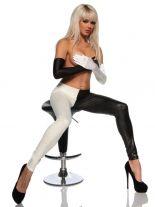 elastische Wet-Look Leggings schwarz weiß