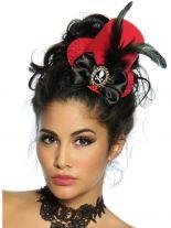Haarschmuck Mini Hut rot mit Federn