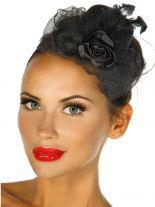 Haarschmuck Mini Hut schwarz mit Rose