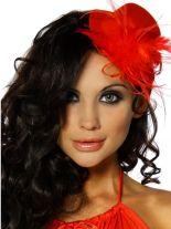 Haarschmuck Mini Hut rot mit Feder