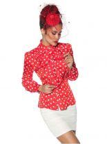 Rockabilly Bluse rot mit weißen Punkten