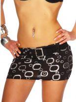 Mini Rock mit Gürtel schwarz silber mit Kreise