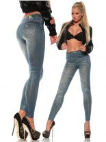 elastische Leggings in Jeans Style Optik blau