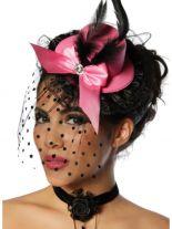 Haarschmuck Mini Hut rosa mit Federn