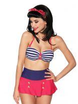 Rockabilly Bandeau Bikini Marine Style blau rot und weiß