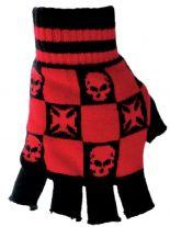 Fingerlose Handschuhe Eisernes Kreuz Totenköpfe rot
