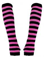 Armstulpen schwarz pink gestreift