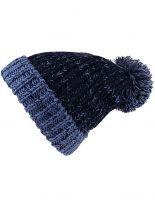 Slouch Long Winter Mütze dunkelblau Bommel