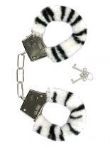Handschellen mit Fell Tiger schwarz weiß