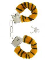 Handschellen mit Fell schwarz braun Tiger