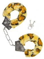 Handschellen mit Fell braun Leopard