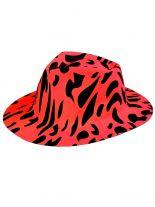 Partyhut Fedora rot schwarz gefleckt