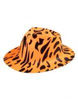 Partyhut Fedora orange schwarz gefleckt