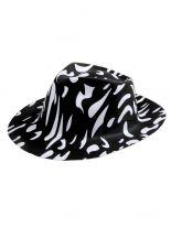 Partyhut Fedora schwarz weiß gefleckt