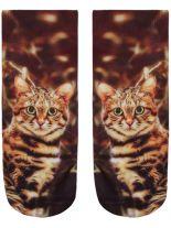 Sneaker Socken bedruckt Katze bunt