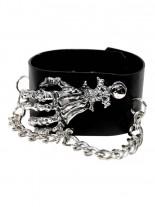 Kunstleder Armband Knochenhand
