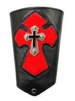 Kunstleder Armband Kreuz rot