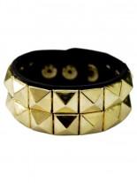 Kunstleder Armband Pyramidennieten 2 reihig gold