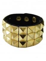 Kunstleder Armband Pyramidennieten 3 reihig gold