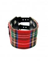 Kunstleder Armband Schottenmuster