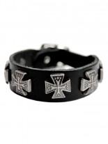Leder Armband Eisernes Kreuz mit Sternen