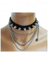 Leder Halsband Spinne mit Killernieten und Ketten