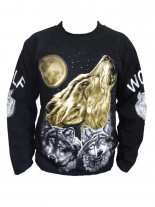 Sweatshirt heulender Wolf Mond