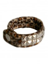 Webpelz Armband Pyramiden Nieten 2 reihig Leopard braun